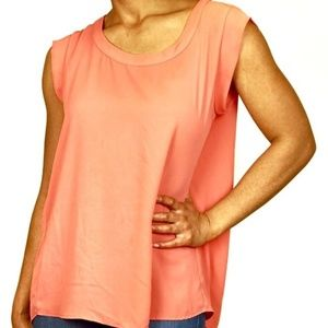 PLEIONE Coral Pleated Back Chiffon Blouse